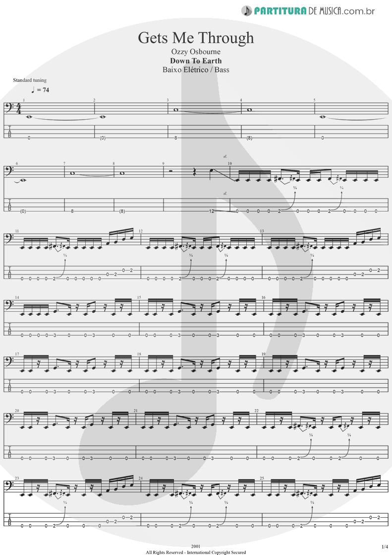Tablatura + Partitura de musica de Baixo Elétrico - Gets Me Through | Ozzy Osbourne | Down To Earth 2001 - pag 1
