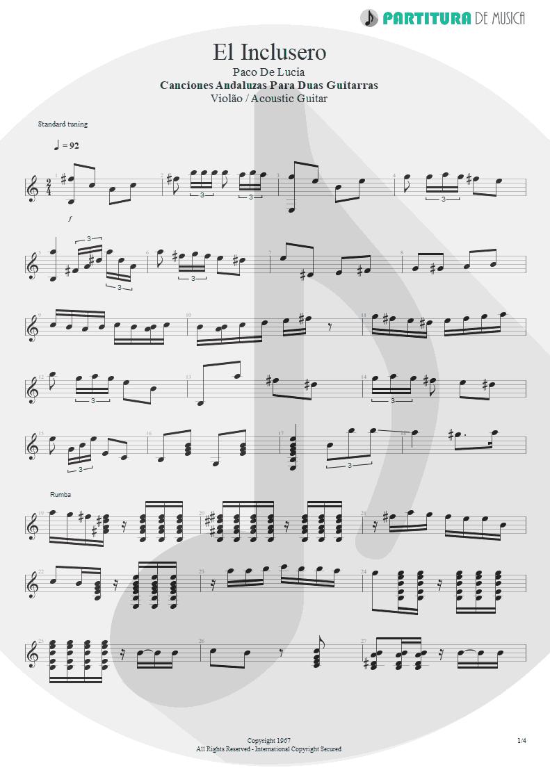 Partitura de musica de Violão - El Inclusero   Paco de Lucía   Canciones Andaluzas Para 2 Guitarras 1967 - pag 1