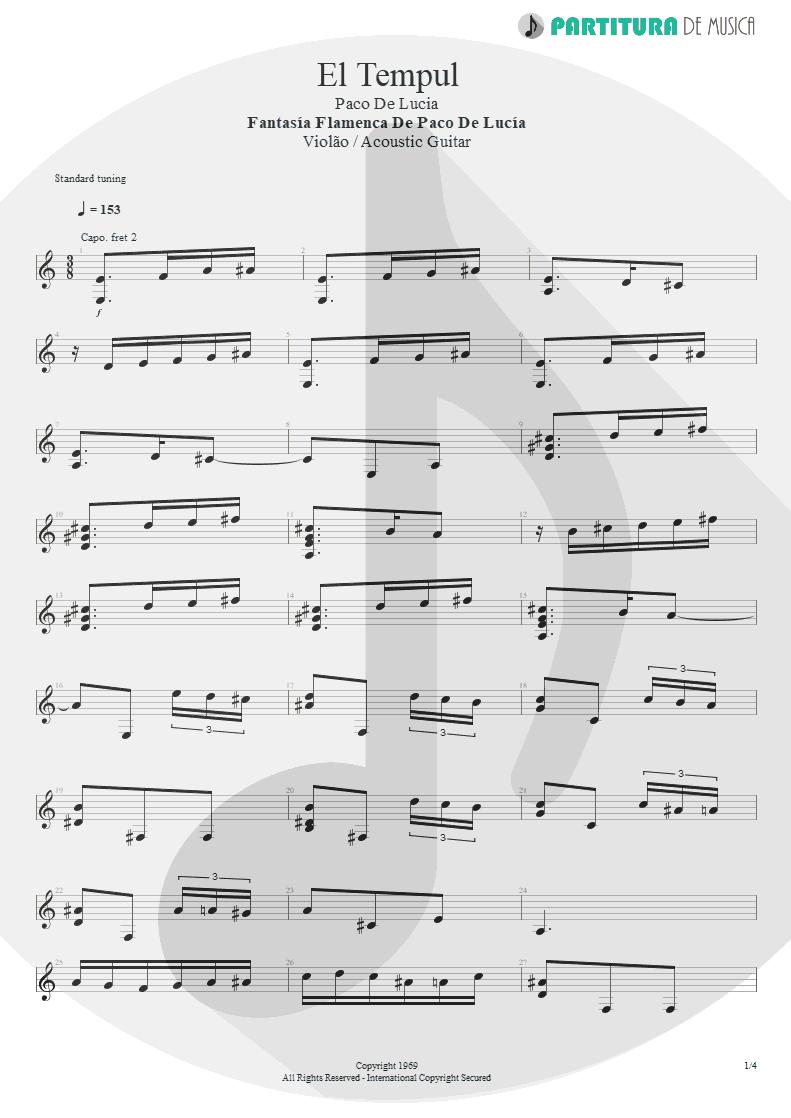 Partitura de musica de Violão - El Tempul | Paco de Lucía | Fantasía flamenca de Paco de Lucía 1969 - pag 1