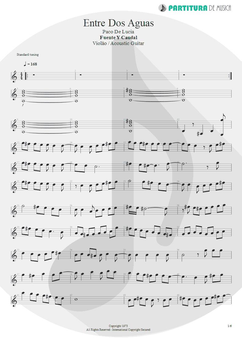 Partitura de musica de Violão - Entre Dos Aguas | Paco de Lucía | Fuente y Caudal 1973 - pag 1