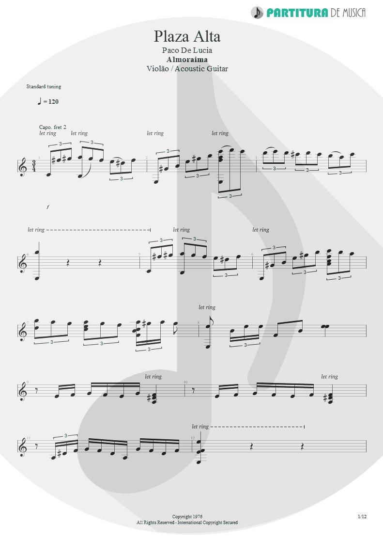 Partitura de musica de Violão - Plaza Alta | Paco de Lucía | Almoraima 1976 - pag 1