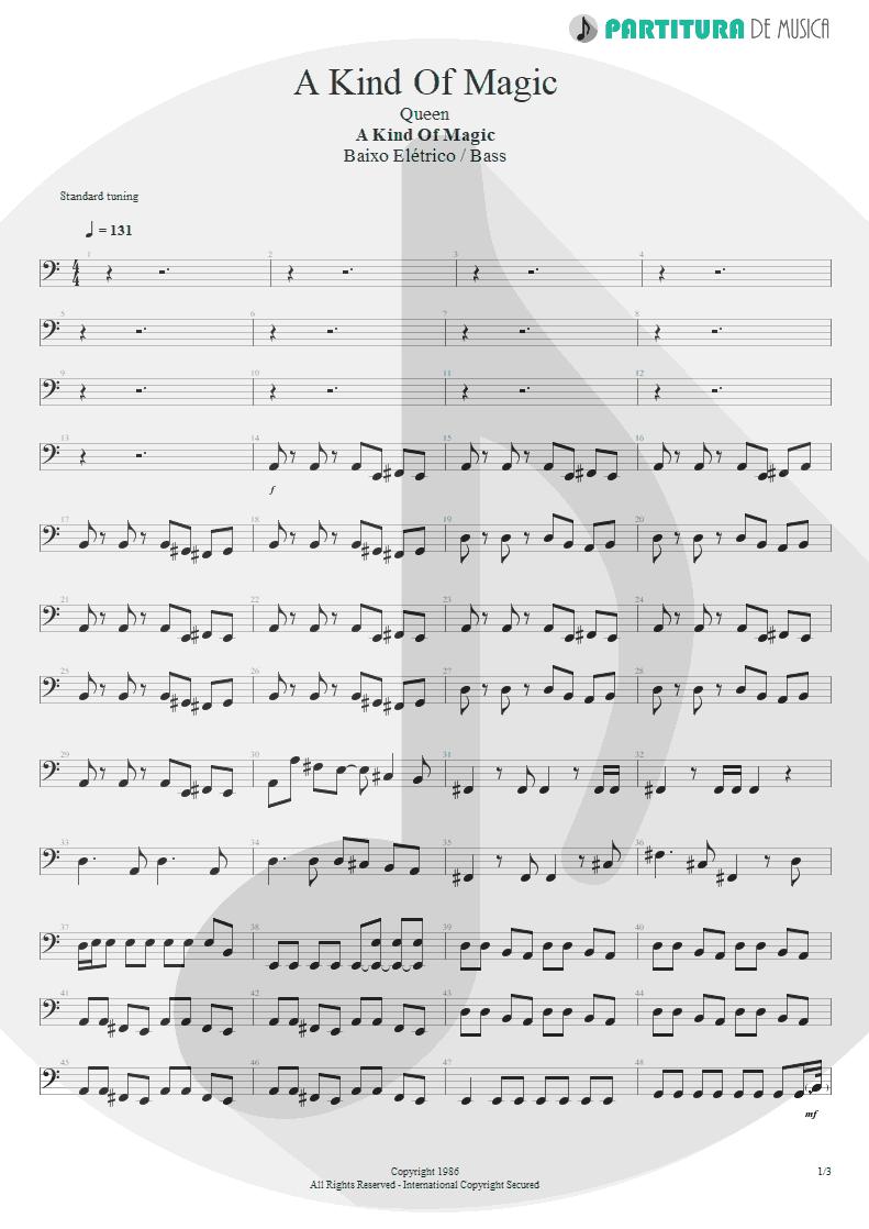 Partitura de musica de Baixo Elétrico - A Kind Of Magic | Queen | A Kind of Magic 1986 - pag 1