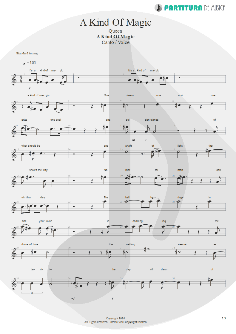 Partitura de musica de Canto - A Kind Of Magic | Queen | A Kind of Magic 1986 - pag 1