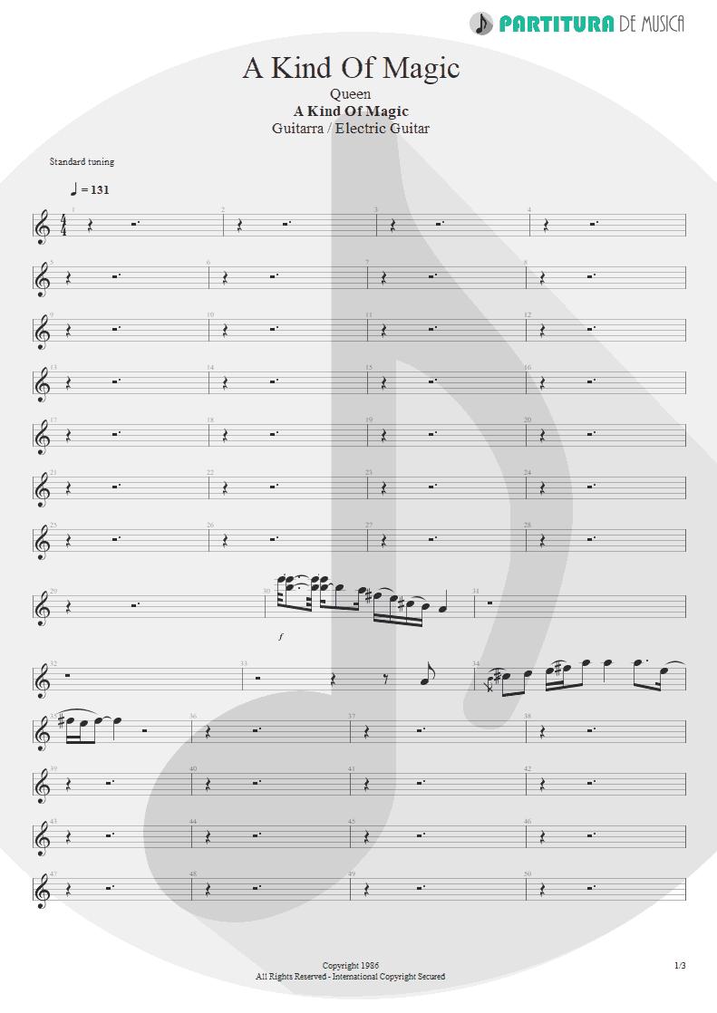 Partitura de musica de Guitarra Elétrica - A Kind Of Magic | Queen | A Kind of Magic 1986 - pag 1