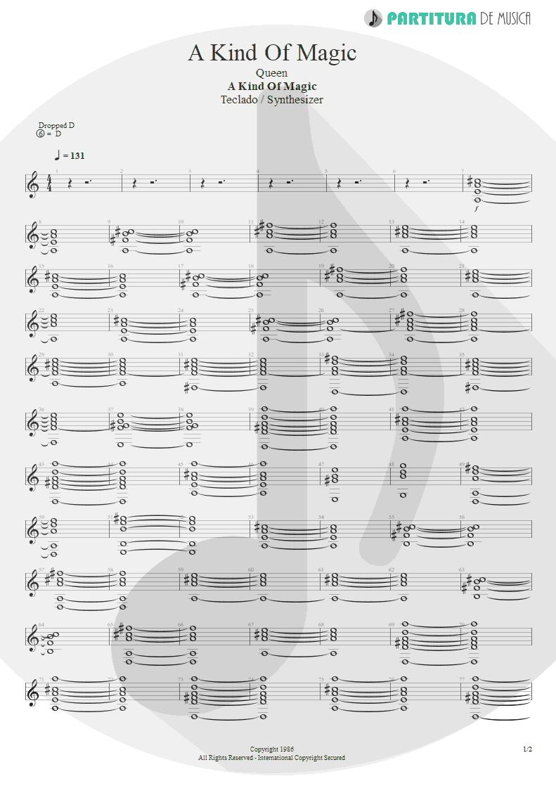 Partitura de musica de Teclado - A Kind Of Magic | Queen | A Kind of Magic 1986 - pag 1