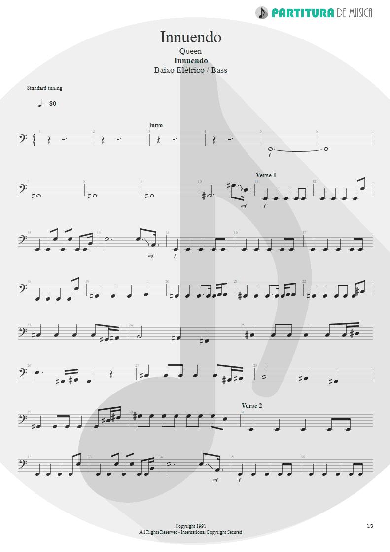 Partitura de musica de Baixo Elétrico - Innuendo | Queen | Innuendo 1991 - pag 1