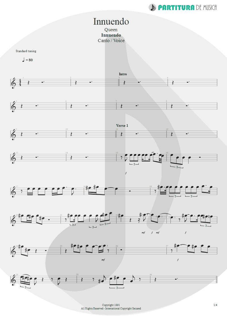 Partitura de musica de Canto - Innuendo | Queen | Innuendo 1991 - pag 1