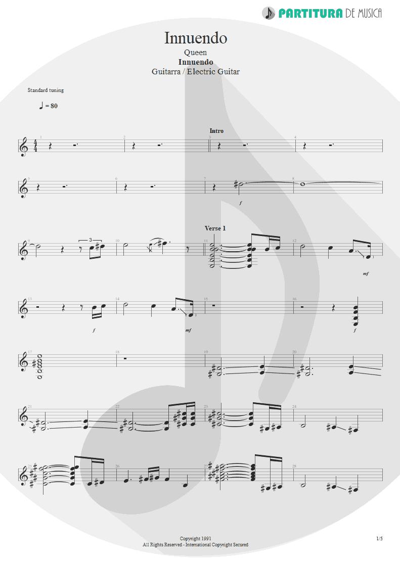 Partitura de musica de Guitarra Elétrica - Innuendo | Queen | Innuendo 1991 - pag 1