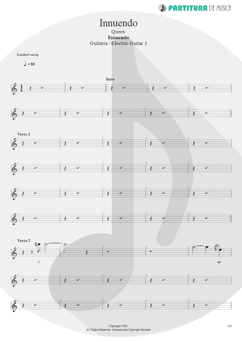 Partitura de musica de Guitarra Elétrica - Innuendo   Queen   Innuendo 1991 - pag 1