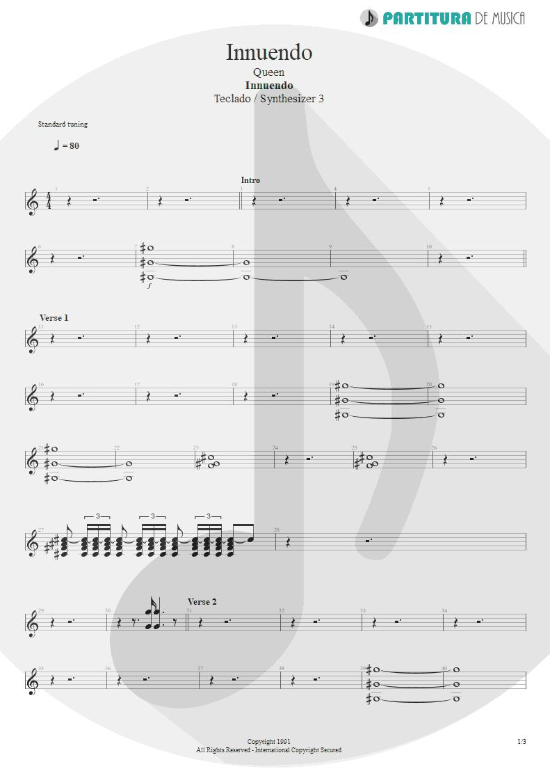 Partitura de musica de Teclado - Innuendo | Queen | Innuendo 1991 - pag 1