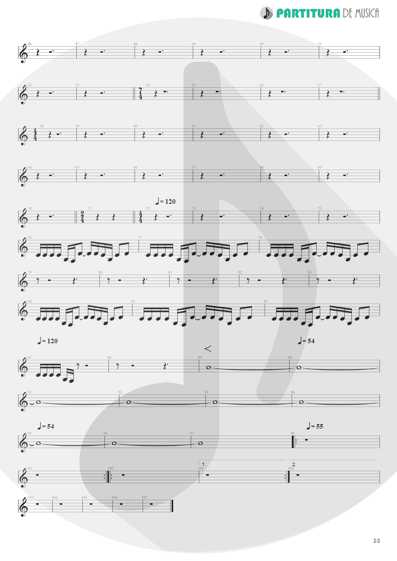 Partitura de musica de Guitarra Elétrica - Freedom | Rage Against the Machine | Rage Against the Machine 1996 - pag 2