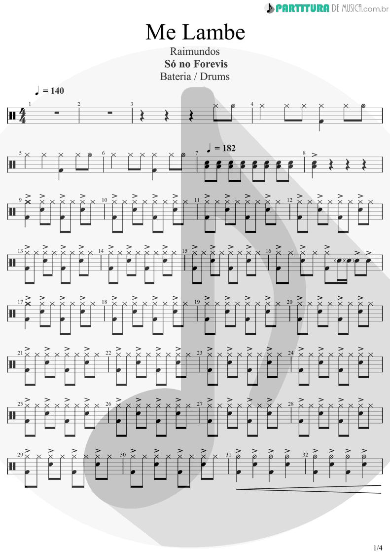 Partitura de musica de Bateria - Me Lambe | Raimundos | Só no Forevis 1999 - pag 1