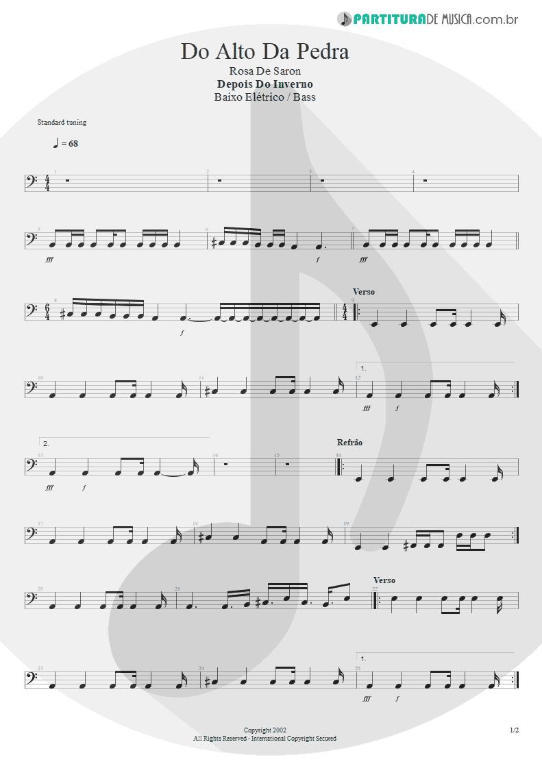 Partitura de musica de Baixo Elétrico - Do Alto da Pedra | Rosa de Saron | Depois do Inverno 2002 - pag 1