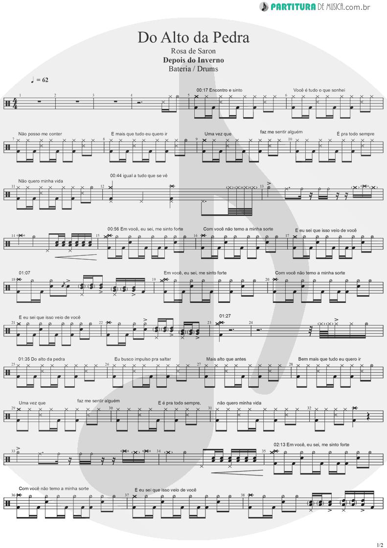 Partitura de musica de Bateria - Do Alto da Pedra | Rosa de Saron | Depois do Inverno 2002 - pag 1