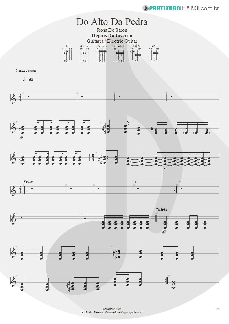 Partitura de musica de Guitarra Elétrica - Do Alto da Pedra | Rosa de Saron | Depois do Inverno 2002 - pag 1