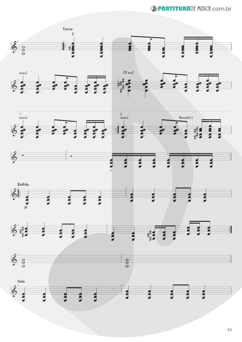 Partitura de musica de Guitarra Elétrica - Do Alto da Pedra | Rosa de Saron | Depois do Inverno 2002 - pag 2