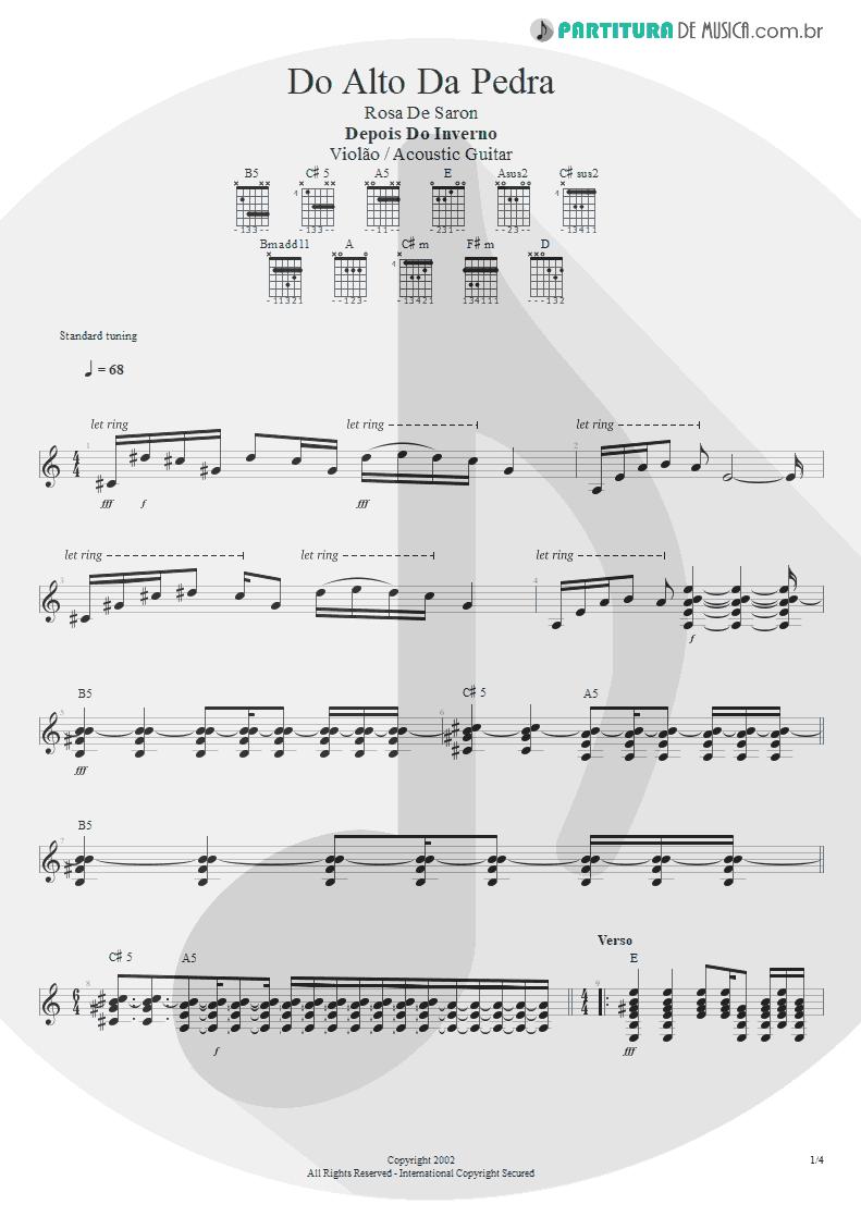 Partitura de musica de Violão - Do Alto da Pedra | Rosa de Saron | Depois do Inverno 2002 - pag 1