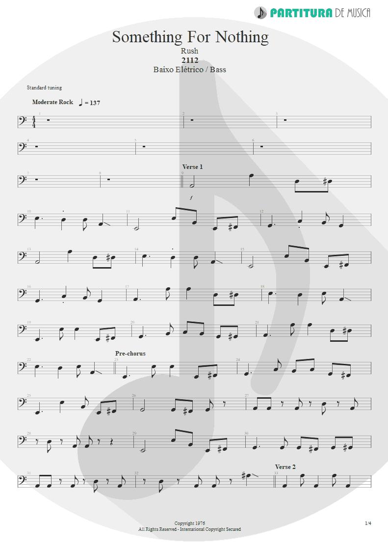 Partitura de musica de Baixo Elétrico - Something For Nothing | Rush | 2112 1976 - pag 1