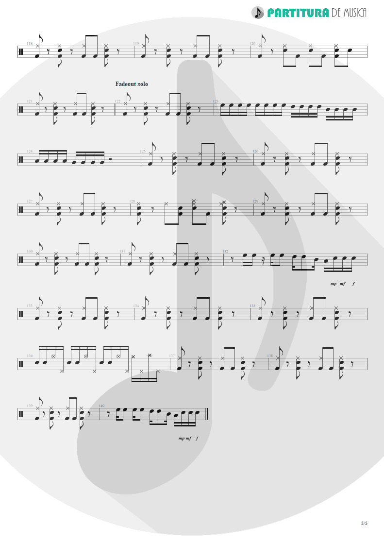 Partitura de musica de Bateria - Something For Nothing | Rush | 2112 1976 - pag 5