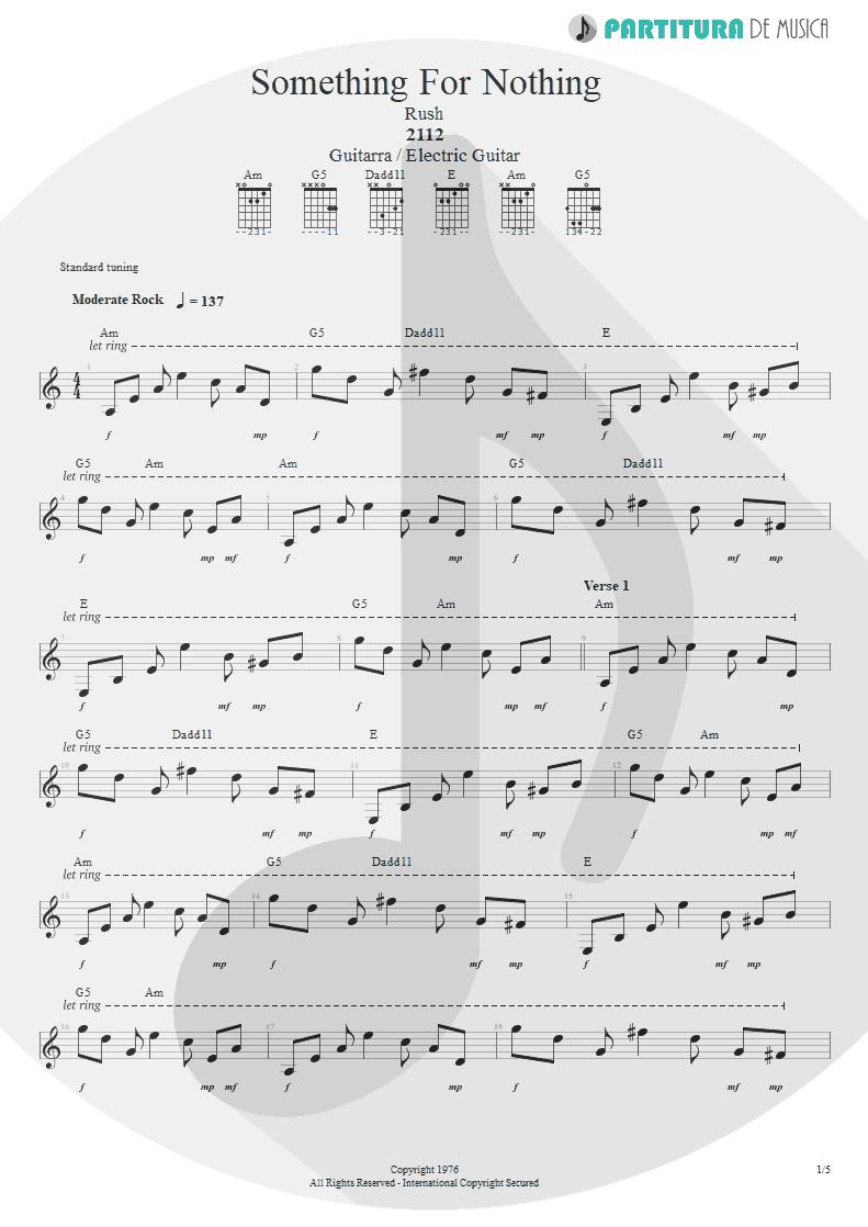Partitura de musica de Guitarra Elétrica - Something For Nothing | Rush | 2112 1976 - pag 1