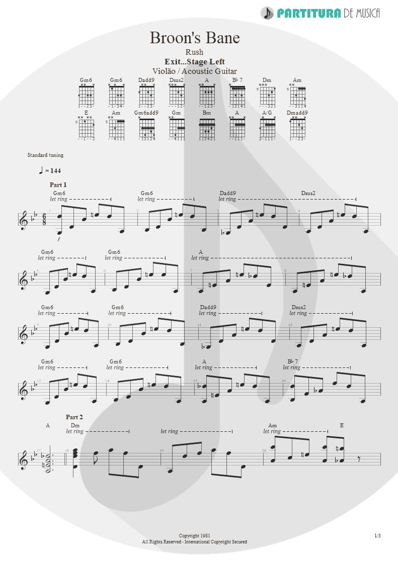 Partitura de musica de Violão - Broon's Bane | Rush | Exit...Stage Left 1981 - pag 1