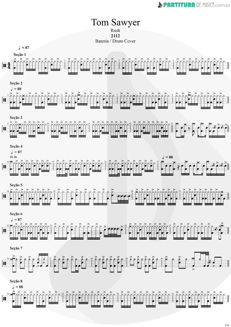 Partitura de musica de Bateria - Tom Sawyer | Rush | Moving Pictures 1981 - pag 1