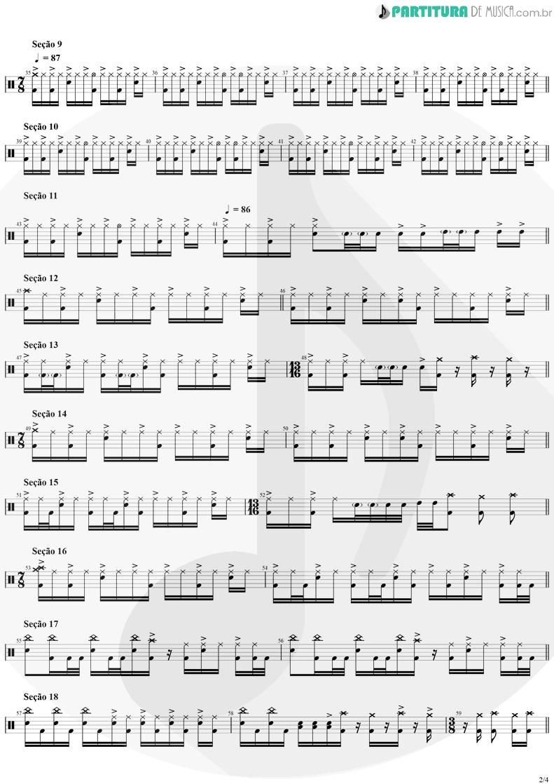 Partitura de musica de Bateria - Tom Sawyer | Rush | Moving Pictures 1981 - pag 2