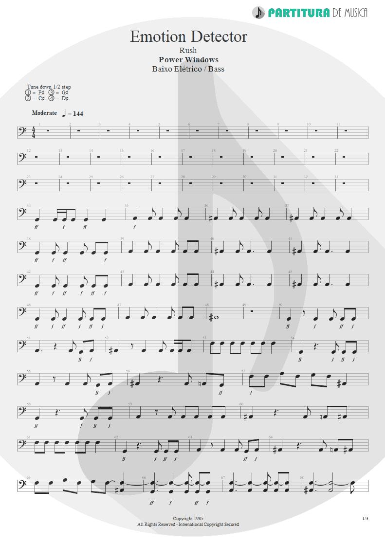 Partitura de musica de Baixo Elétrico - Emotion Detector   Rush   Power Windows 1985 - pag 1