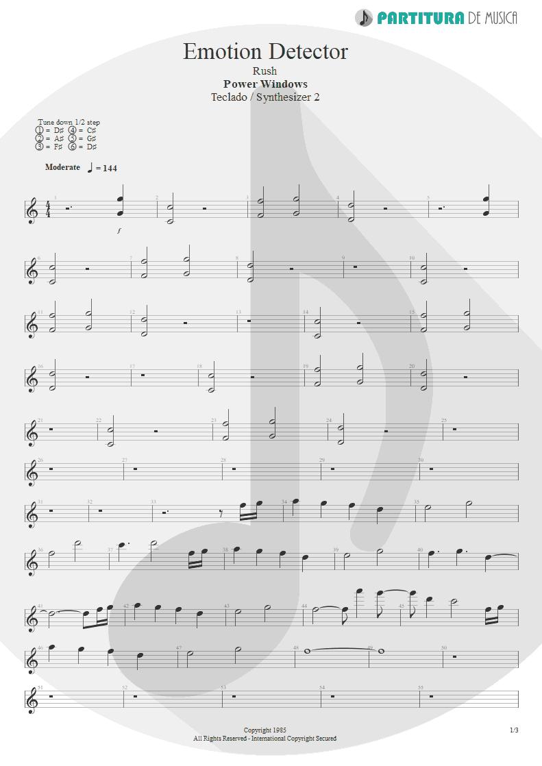 Partitura de musica de Teclado - Emotion Detector | Rush | Power Windows 1985 - pag 1