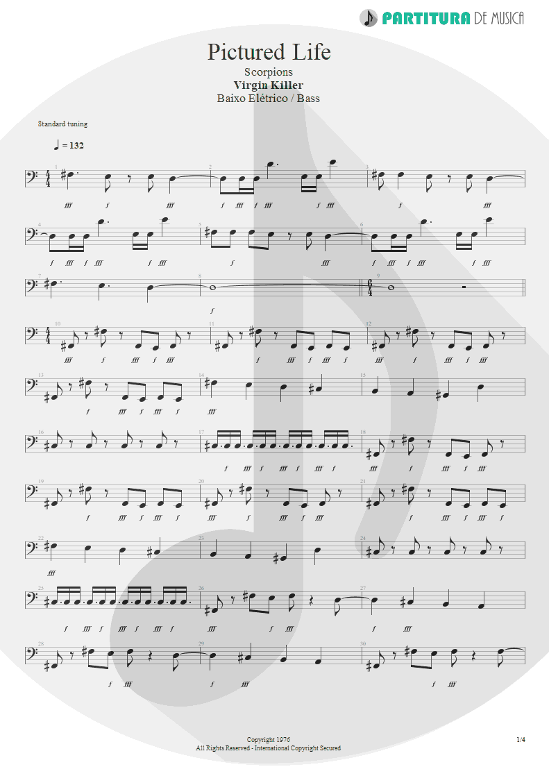 Partitura de musica de Baixo Elétrico - Pictured Life | Scorpions | Virgin Killer 1976 - pag 1