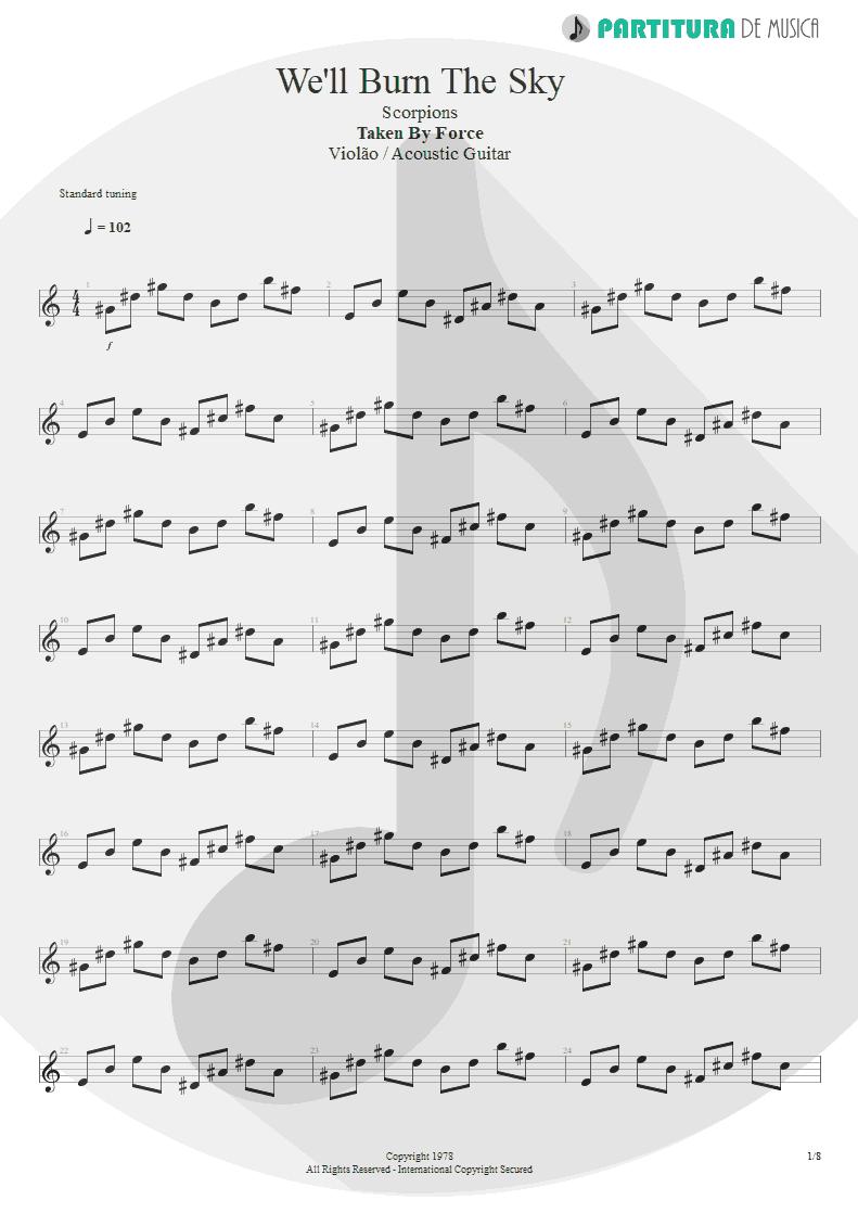Partitura de musica de Violão - We'll Burn The Sky | Scorpions | Taken by Force 1978 - pag 1