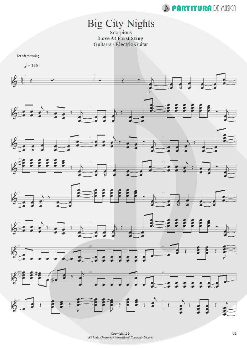 Partitura de musica de Guitarra Elétrica - Big City Nights | Scorpions | Love at First Sting 1984 - pag 1
