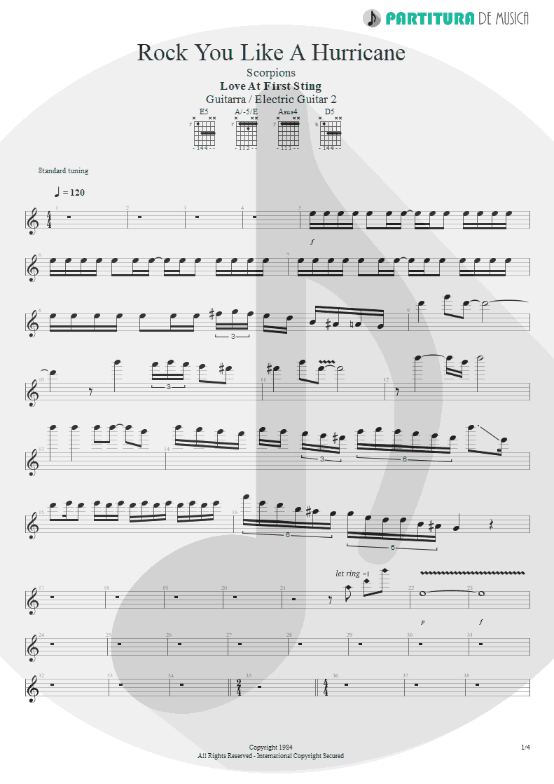 Partitura de musica de Guitarra Elétrica - Rock You Like A Hurricane | Scorpions | Love at First Sting 1984 - pag 1