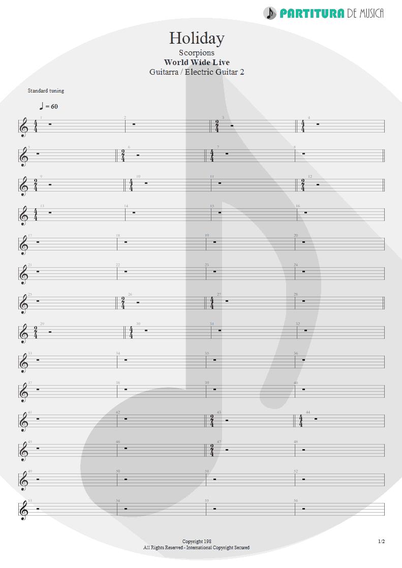 Partitura de musica de Guitarra Elétrica - Holiday | Scorpions | World Wide Live 1985 - pag 1