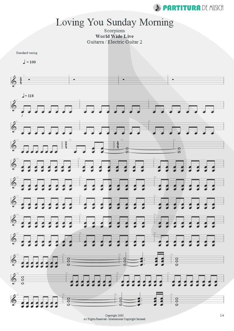 Partitura de musica de Guitarra Elétrica - Loving You Sunday Morning   Scorpions   World Wide Live 1985 - pag 1