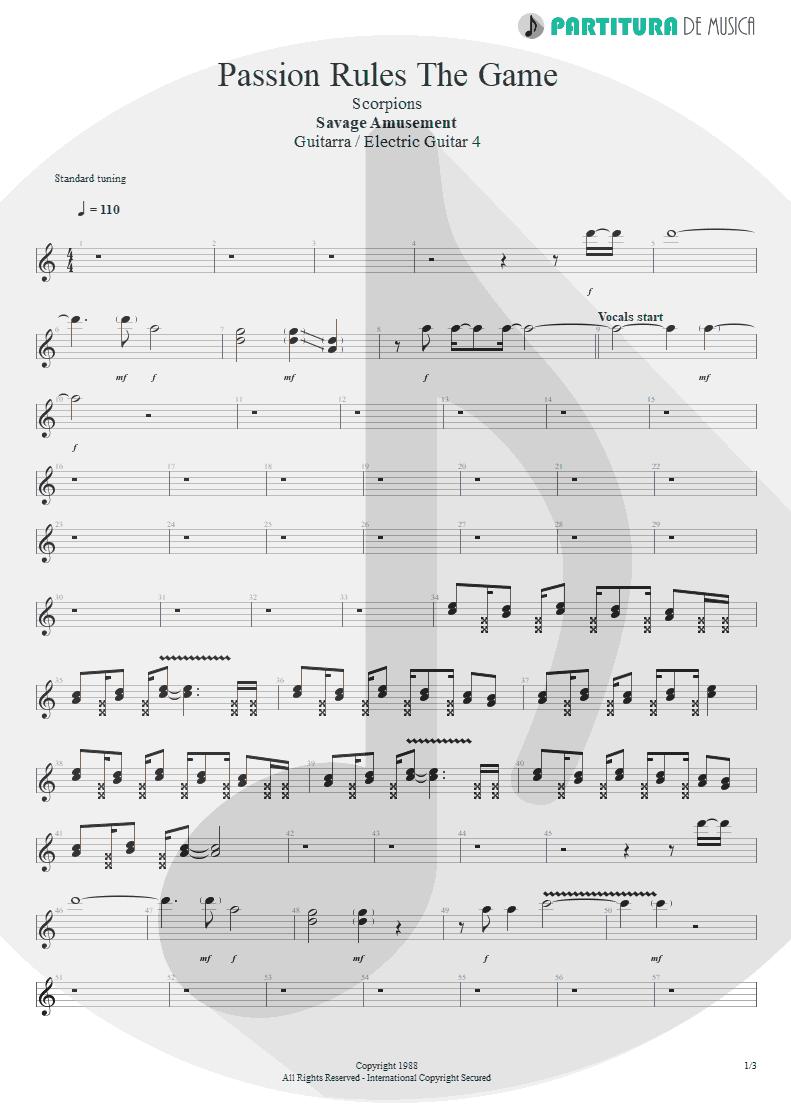 Partitura de musica de Guitarra Elétrica - Passion Rules The Game | Scorpions | Savage Amusement 1988 - pag 1