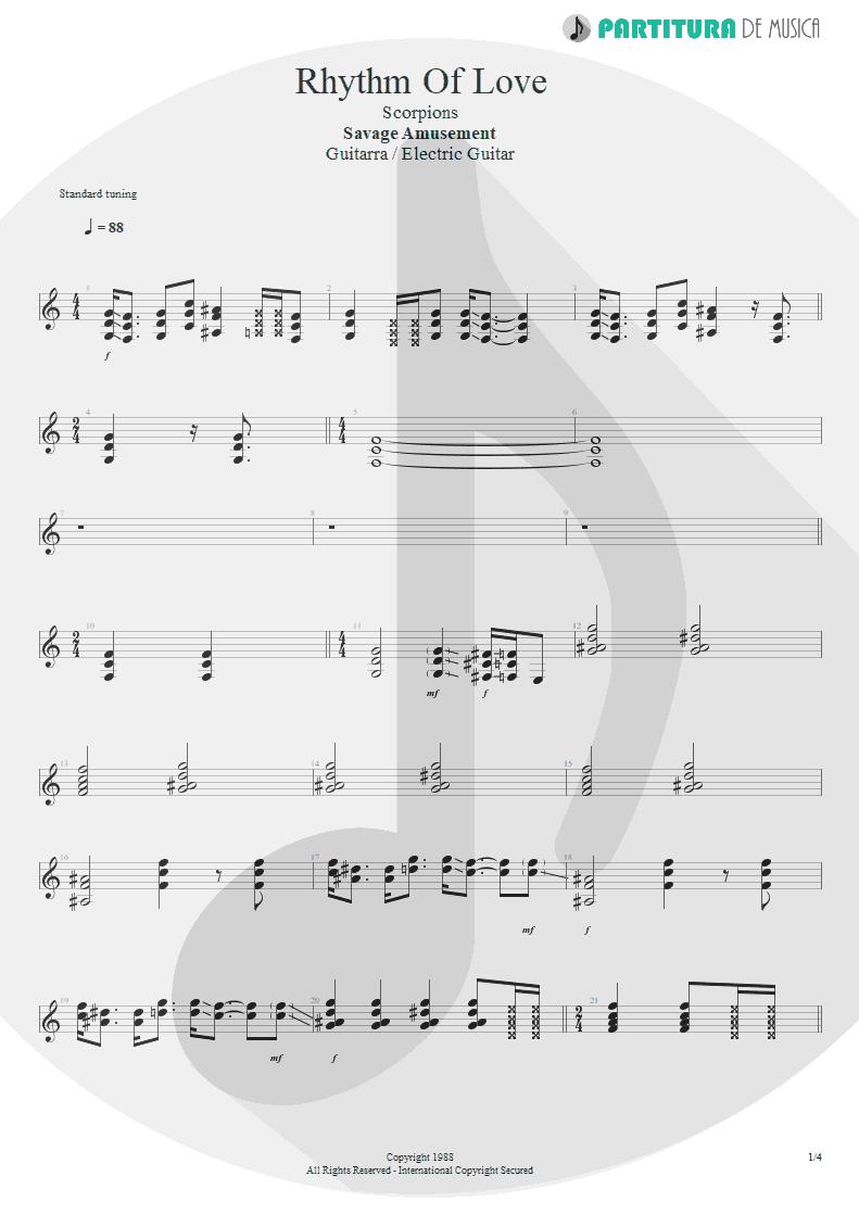 Partitura de musica de Guitarra Elétrica - Rhythm Of Love   Scorpions   Savage Amusement 1988 - pag 1