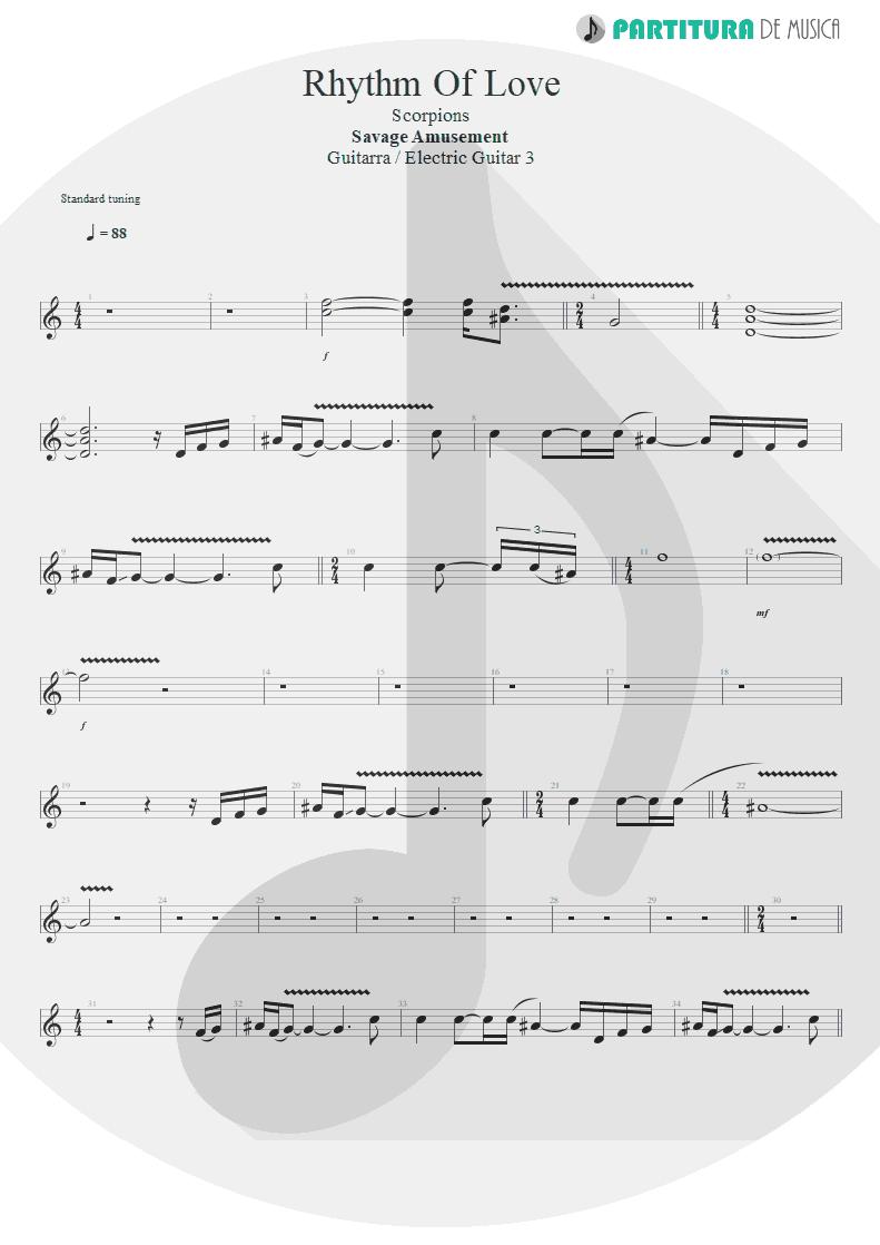 Partitura de musica de Guitarra Elétrica - Rhythm Of Love | Scorpions | Savage Amusement 1988 - pag 1
