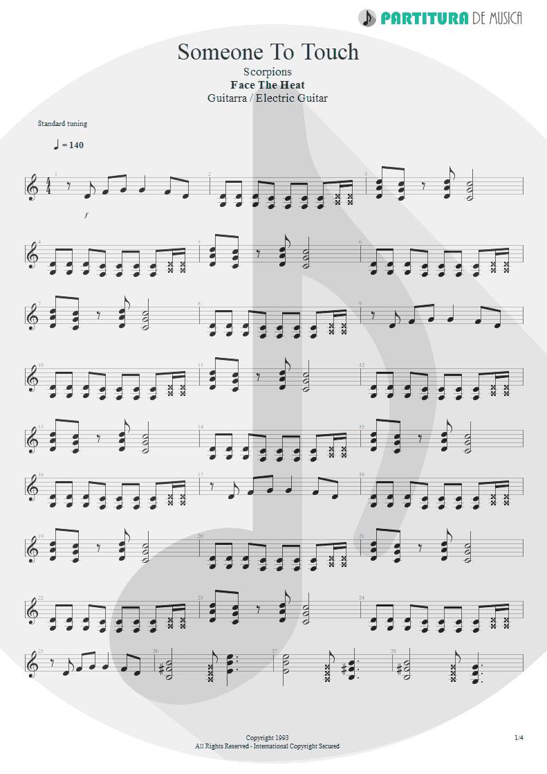 Partitura de musica de Guitarra Elétrica - Someone To Touch   Scorpions   Face the Heat 1993 - pag 1