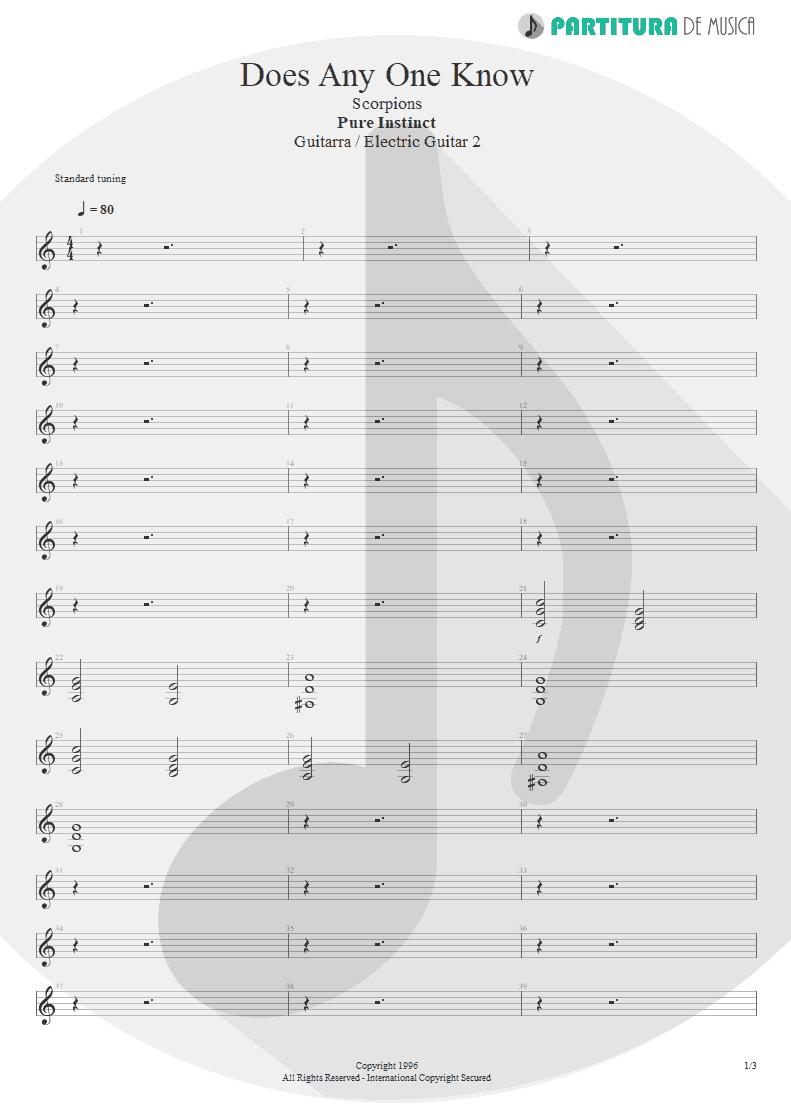 Partitura de musica de Guitarra Elétrica - Does Anyone Know   Scorpions   Pure Instinct 1996 - pag 1