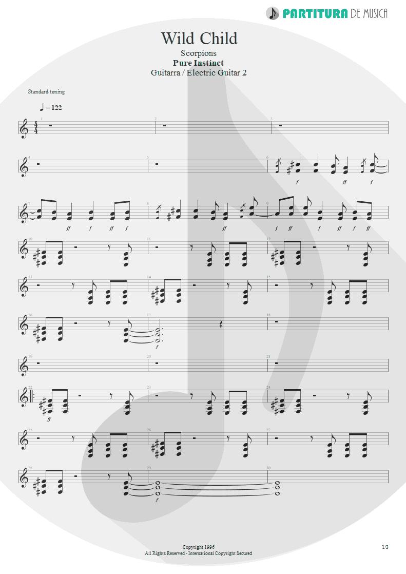 Partitura de musica de Guitarra Elétrica - Wild Child | Scorpions | Pure Instinct 1996 - pag 1
