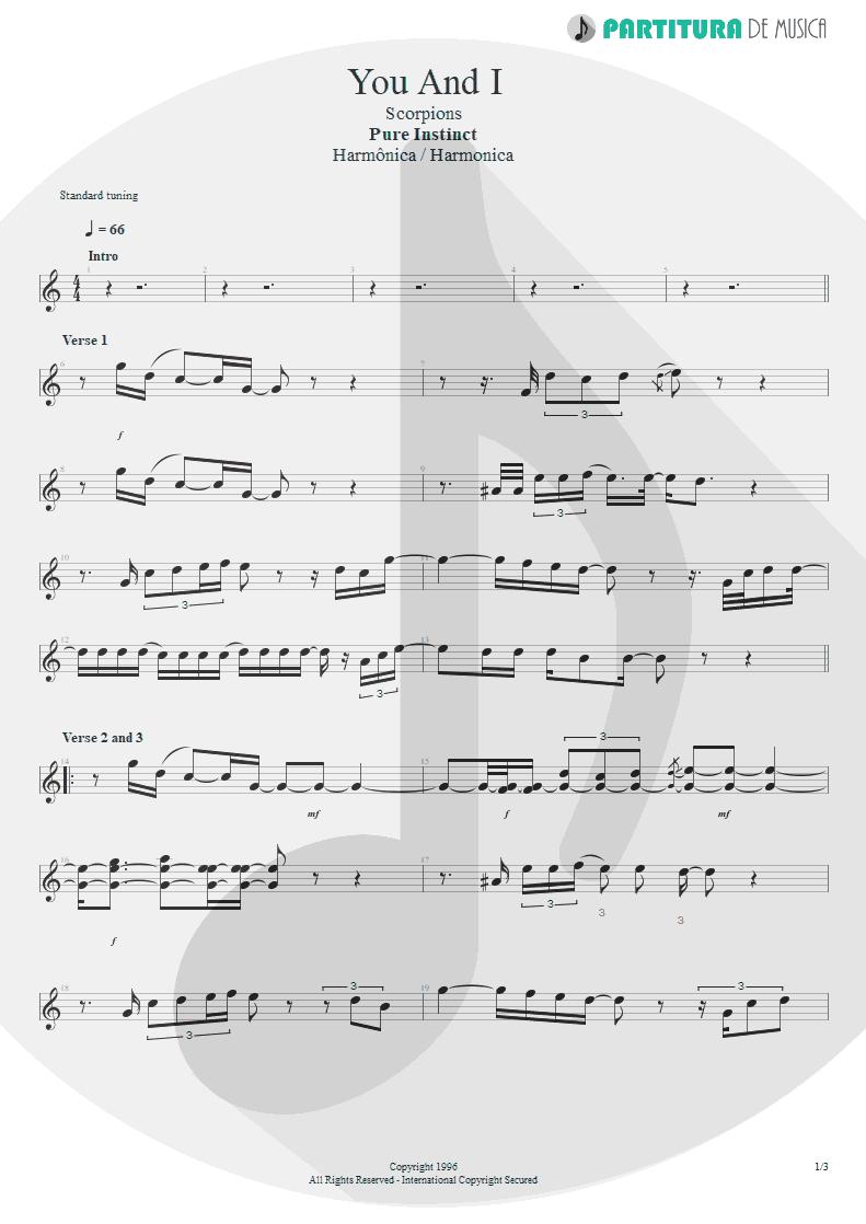 Partitura de musica de Harmônica - You And I | Scorpions | Pure Instinct 1996 - pag 1