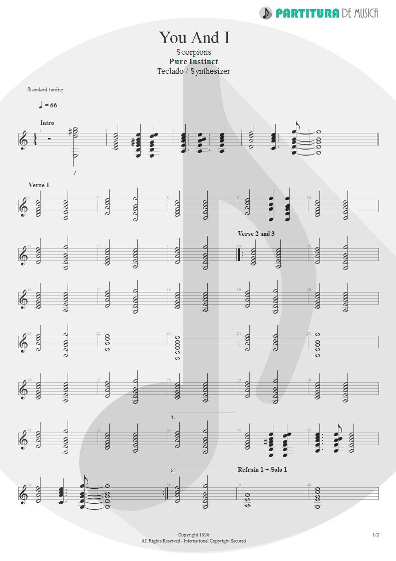Partitura de musica de Teclado - You And I   Scorpions   Pure Instinct 1996 - pag 1