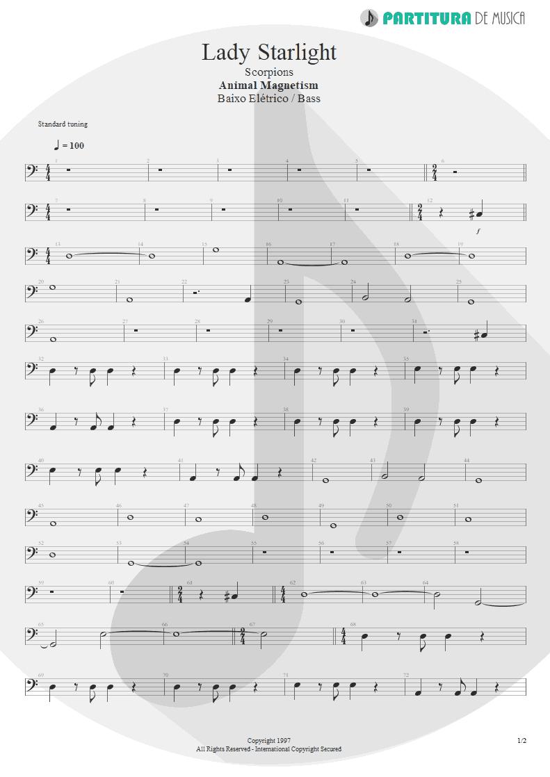 Partitura de musica de Baixo Elétrico - Lady Starlight | Scorpions | Animal Magnetism 1997 - pag 1