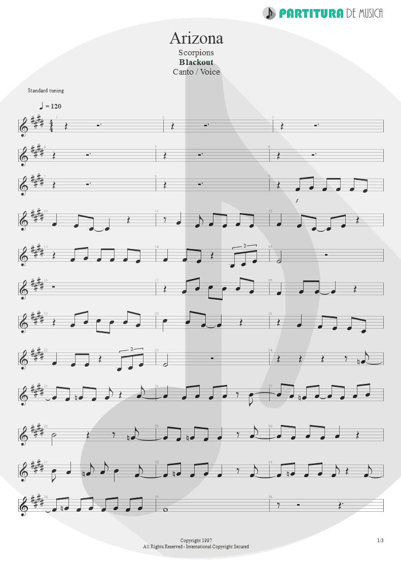 Partitura de musica de Canto - Arizona | Scorpions | Blackout 1997 - pag 1