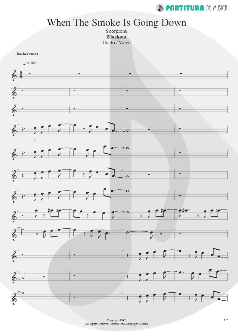 Partitura de musica de Canto - When The Smoke Is Going Down | Scorpions | Blackout 1997 - pag 1
