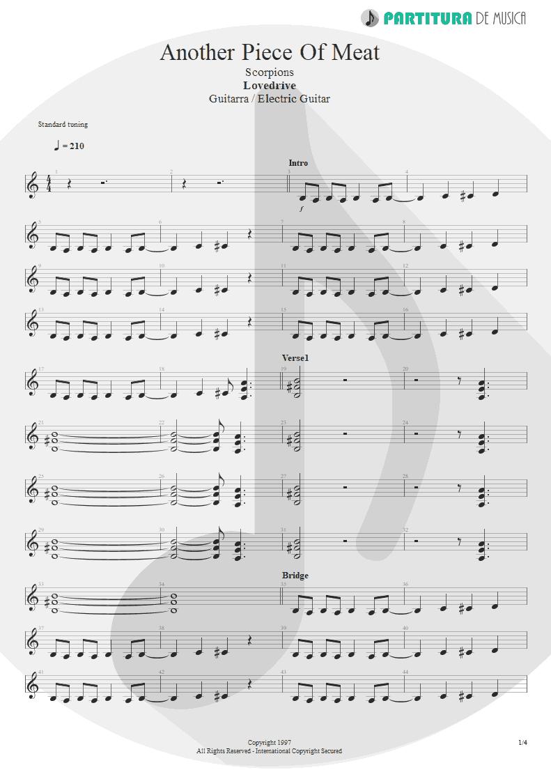 Partitura de musica de Guitarra Elétrica - Another Piece Of Meat | Scorpions | Lovedrive 1997 - pag 1