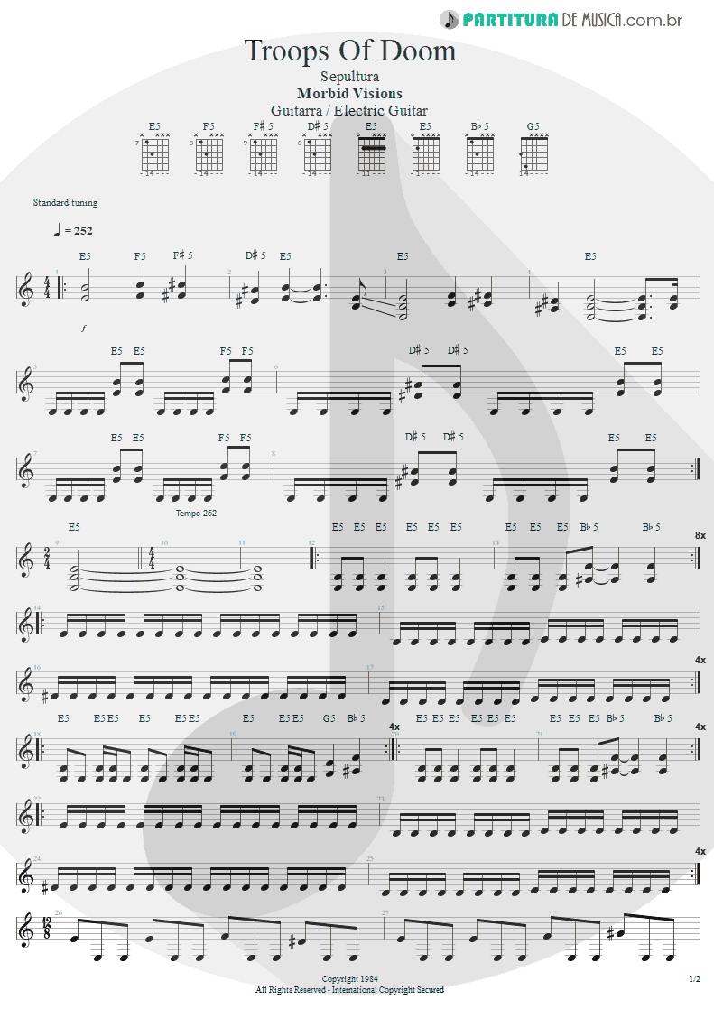 Partitura de musica de Guitarra Elétrica - Troops Of Doom | Sepultura | Morbid Visions 1984 - pag 1