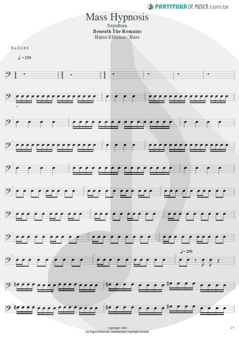 Partitura de musica de Baixo Elétrico - Mass Hypnosis | Sepultura | Beneath the Remains 1989 - pag 1