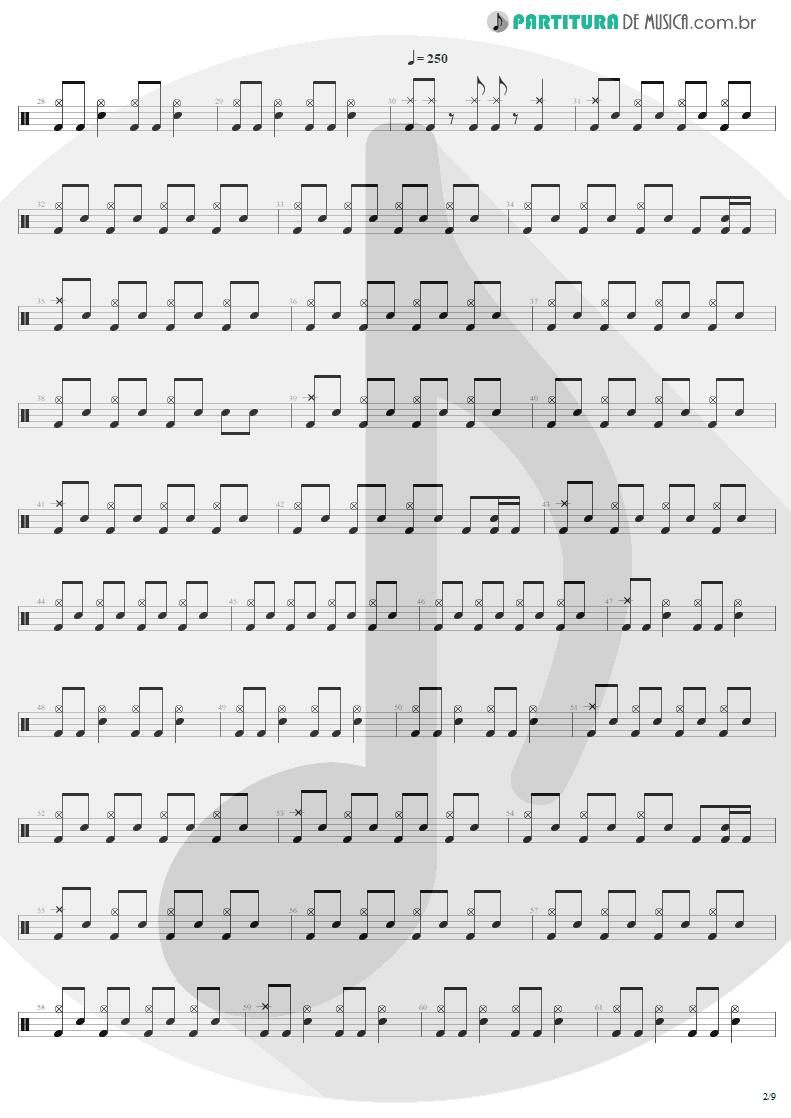 Partitura de musica de Bateria - Mass Hypnosis | Sepultura | Beneath the Remains 1989 - pag 2